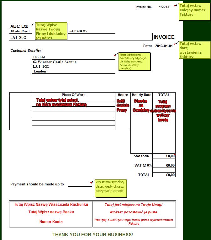 Faktura w UK / jak wystawić invoice w UK