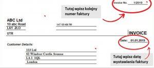 Przykładowa faktura w uk - data i numer faktury