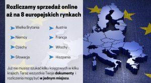 Rozliczamy sprzedaż online aż na 8 różnych rynkach,m.in. zapewniamy rejestrację na VAT w Niemczech, Włochy, Hiszpania